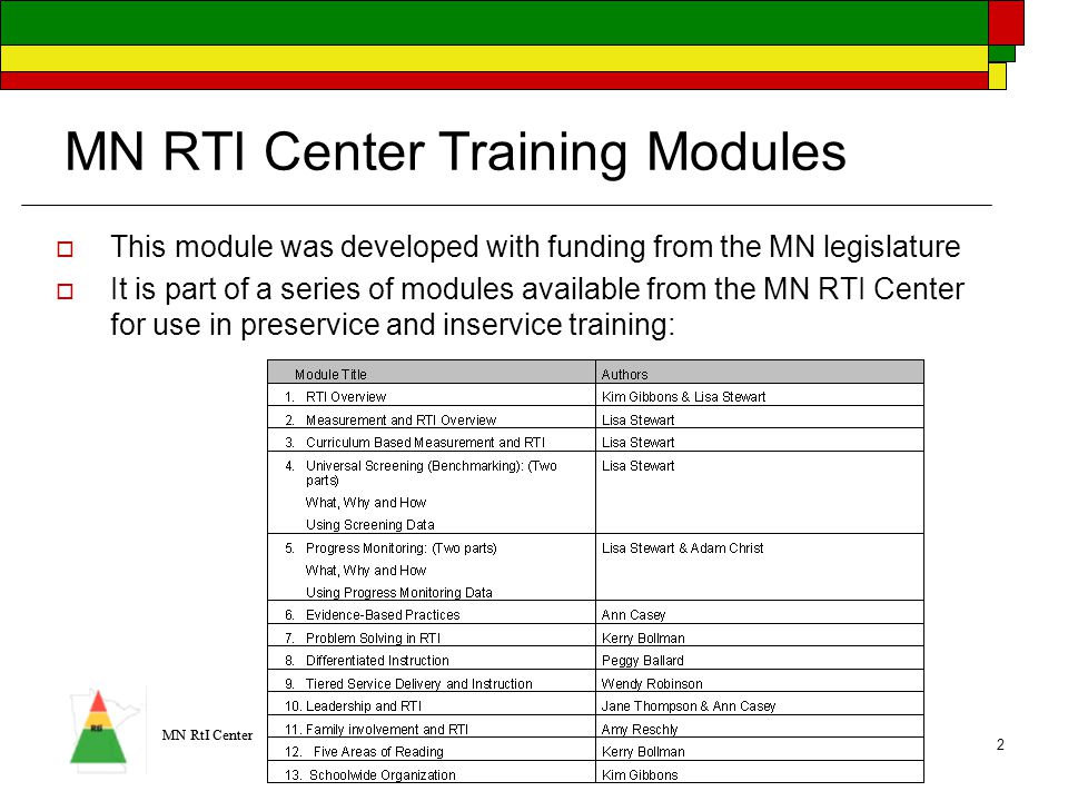 MN RtI Center 2 MN RTI Center Training Modules  This module was developed with funding from the MN legislature  It is part of a series of modules available from the MN RTI Center for use in preservice and inservice training: