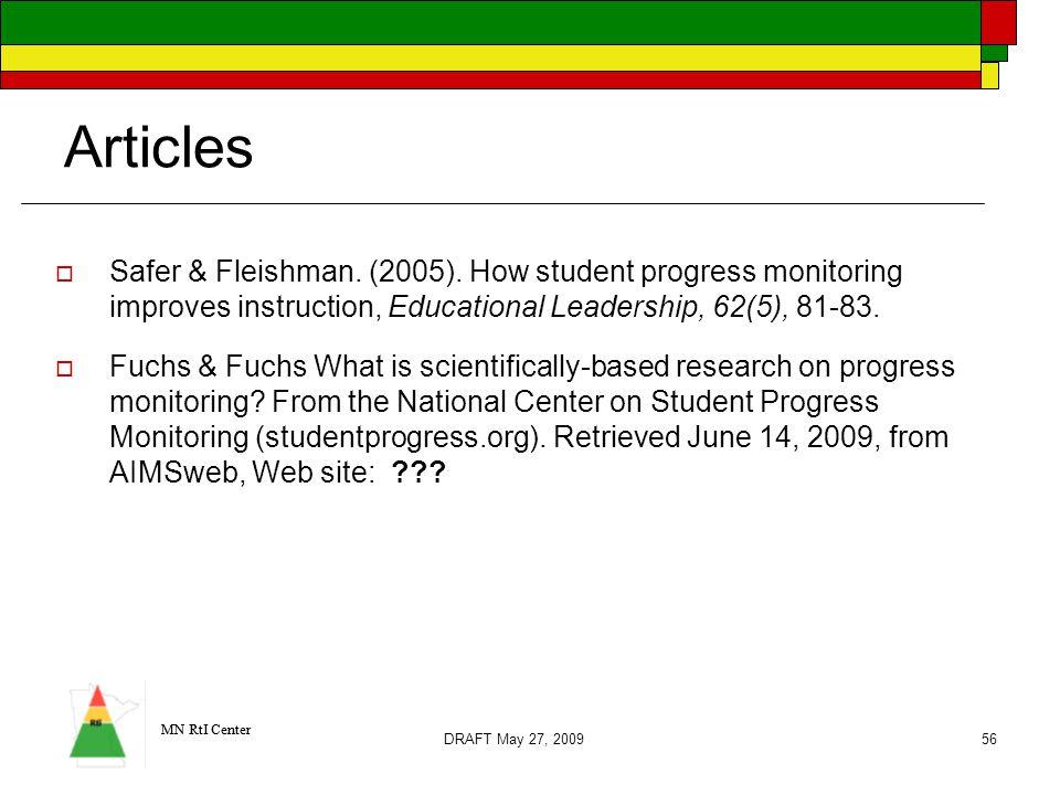 MN RtI Center Articles  Safer & Fleishman. (2005).