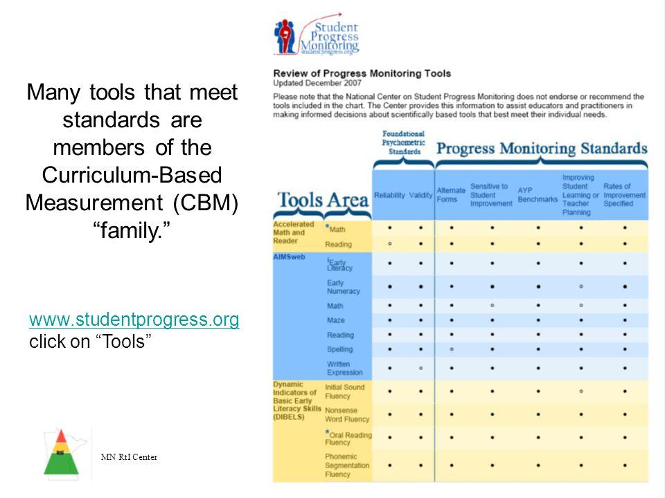 "MN RtI Center 17 Many tools that meet standards are members of the Curriculum-Based Measurement (CBM) ""family."" www.studentprogress.org www.studentpro"