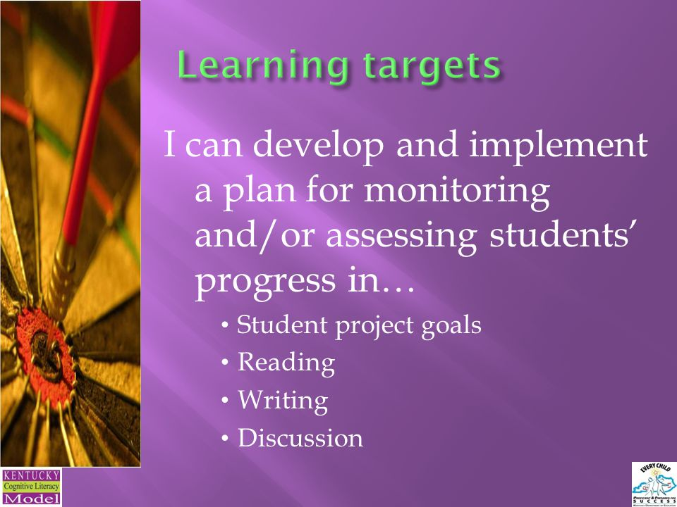 I can develop and implement a plan for monitoring and/or assessing students' progress in… Student project goals Reading Writing Discussion