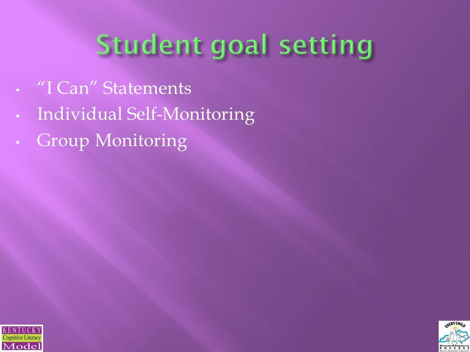 I Can Statements Individual Self-Monitoring Group Monitoring