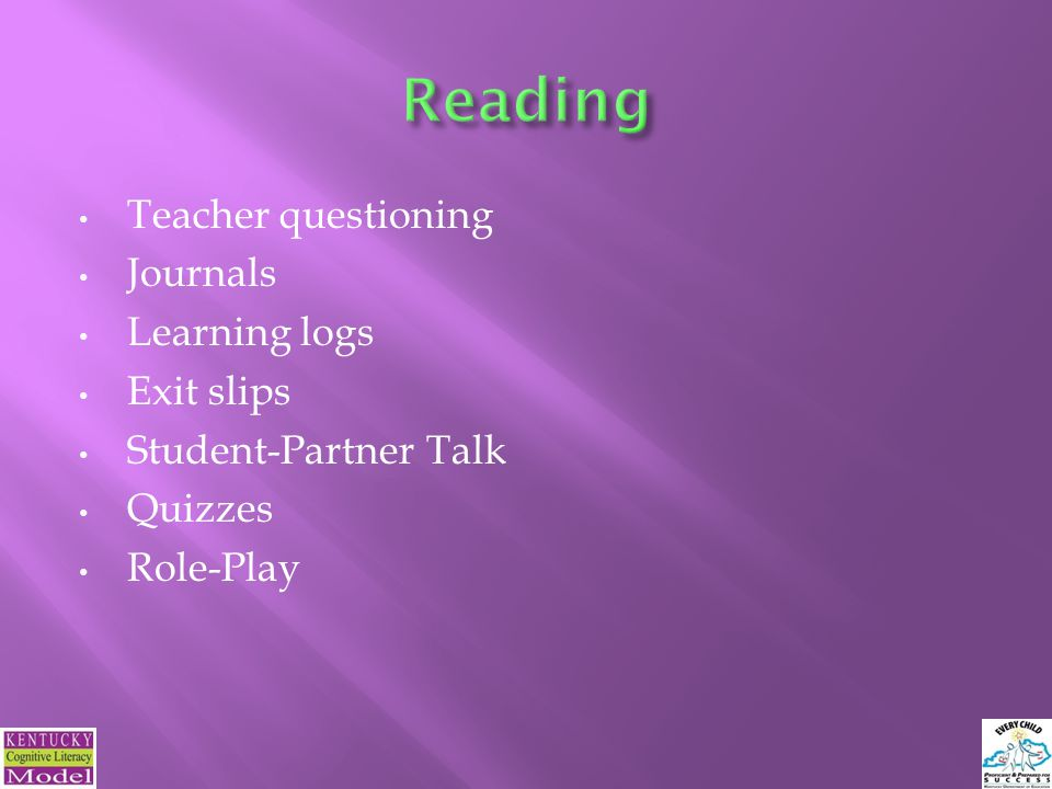 Teacher questioning Journals Learning logs Exit slips Student-Partner Talk Quizzes Role-Play