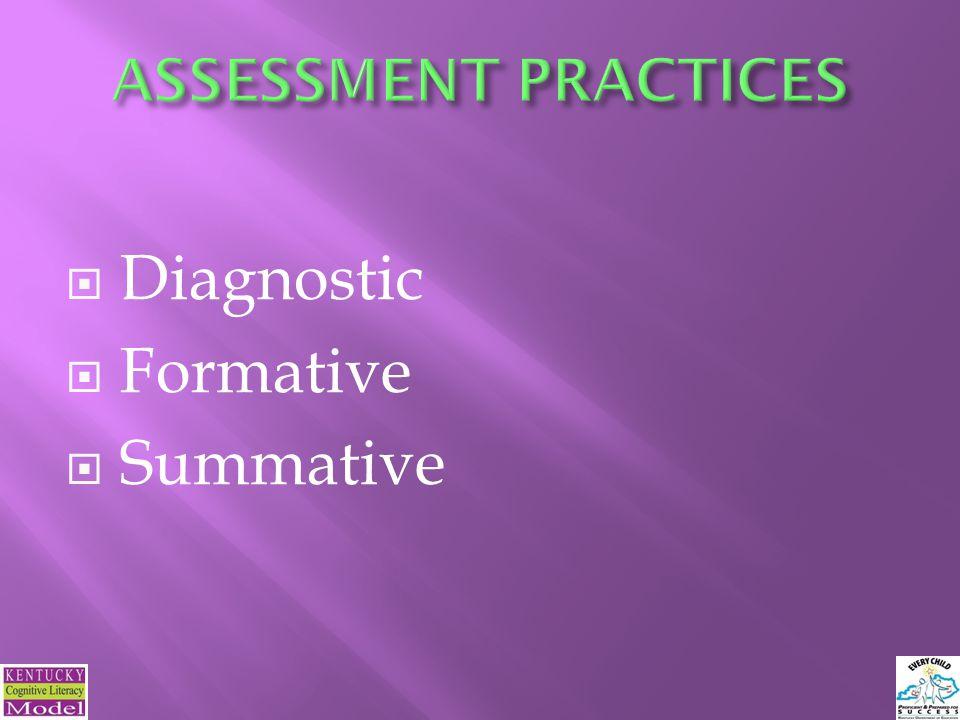  Diagnostic  Formative  Summative