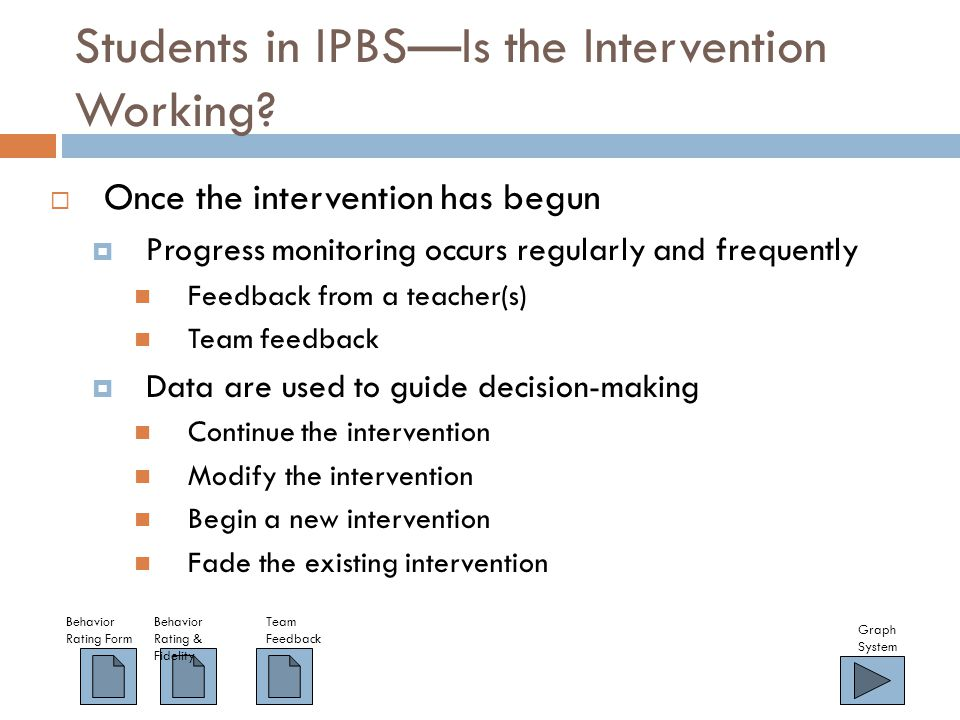 Students in IPBS—Is the Intervention Working.