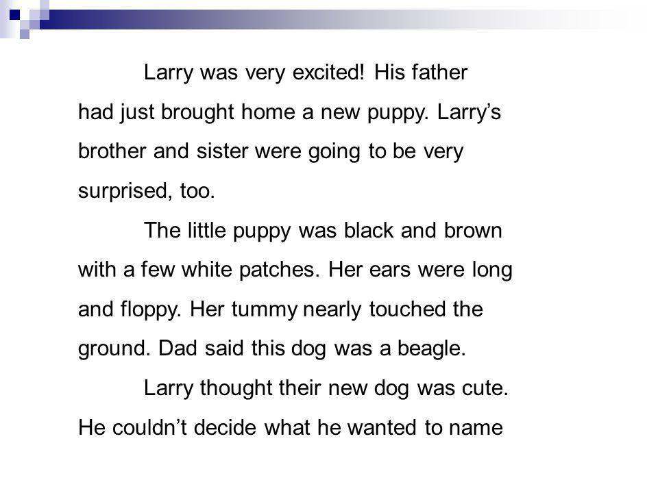 Larry was very excited. His father had just brought home a new puppy.