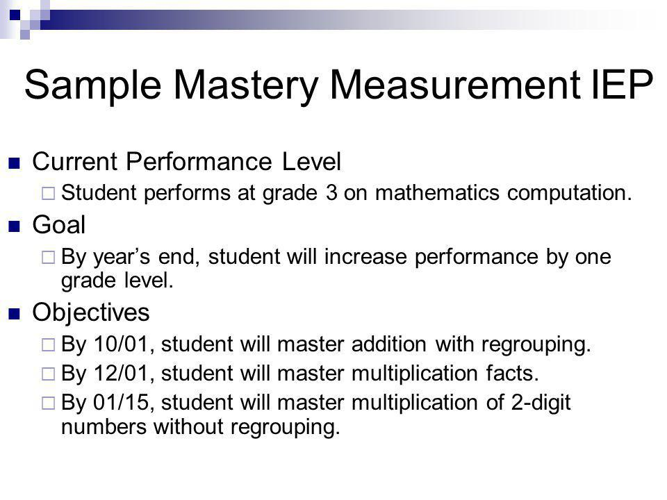 Sample Mastery Measurement IEP Current Performance Level  Student performs at grade 3 on mathematics computation.