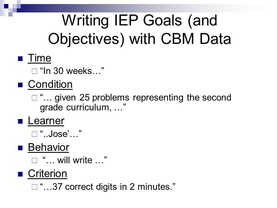 Writing IEP Goals (and Objectives) with CBM Data Time  In 30 weeks… Condition  … given 25 problems representing the second grade curriculum, … Learner  ..Jose'… Behavior  … will write … Criterion  …37 correct digits in 2 minutes.