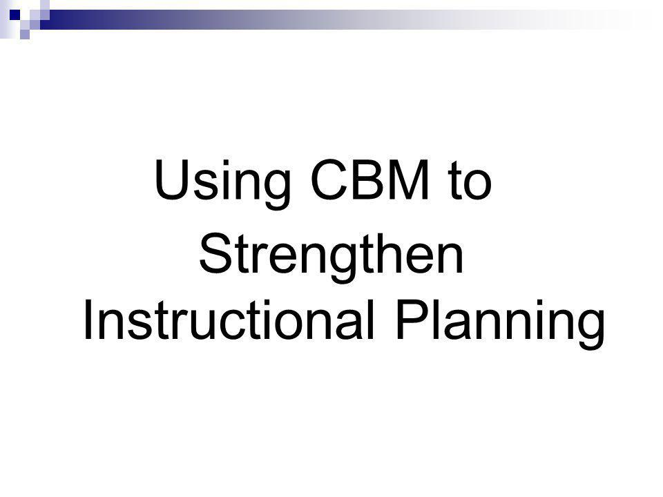 Using CBM to Strengthen Instructional Planning