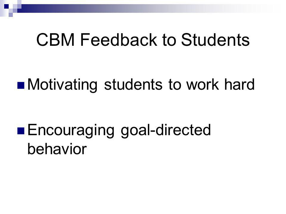 CBM Feedback to Students Motivating students to work hard Encouraging goal-directed behavior