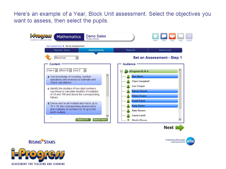 Here's an example of a Year, Block Unit assessment.