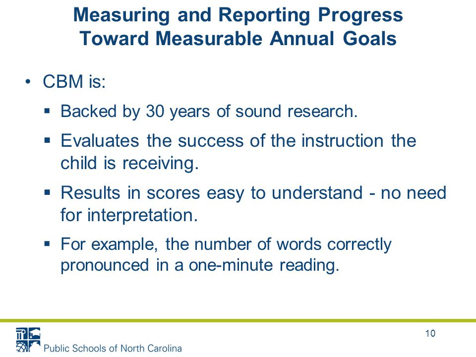 Measuring and Reporting Progress Toward Measurable Annual Goals CBM is:  Backed by 30 years of sound research.