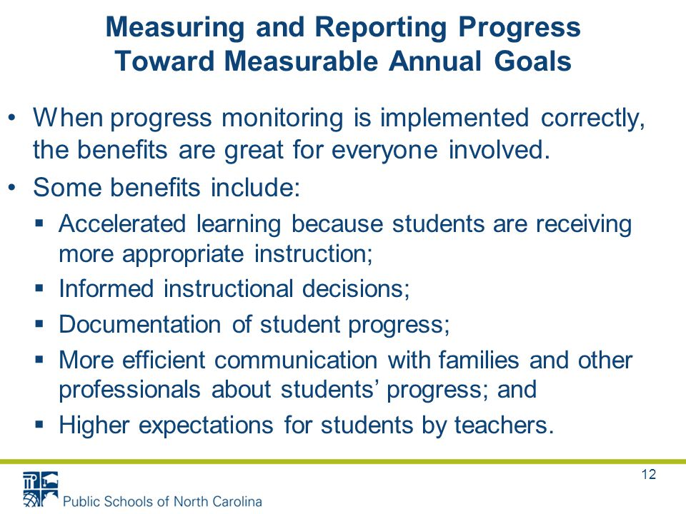 Measuring and Reporting Progress Toward Measurable Annual Goals When progress monitoring is implemented correctly, the benefits are great for everyone involved.