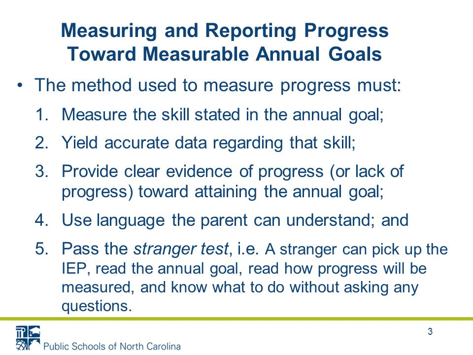3 The method used to measure progress must: 1.Measure the skill stated in the annual goal; 2.Yield accurate data regarding that skill; 3.Provide clear evidence of progress (or lack of progress) toward attaining the annual goal; 4.Use language the parent can understand; and 5.Pass the stranger test, i.e.