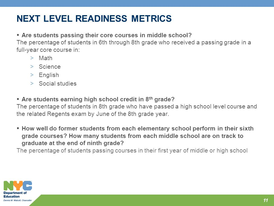 NEXT LEVEL READINESS METRICS  Are students passing their core courses in middle school? The percentage of students in 6th through 8th grade who recei