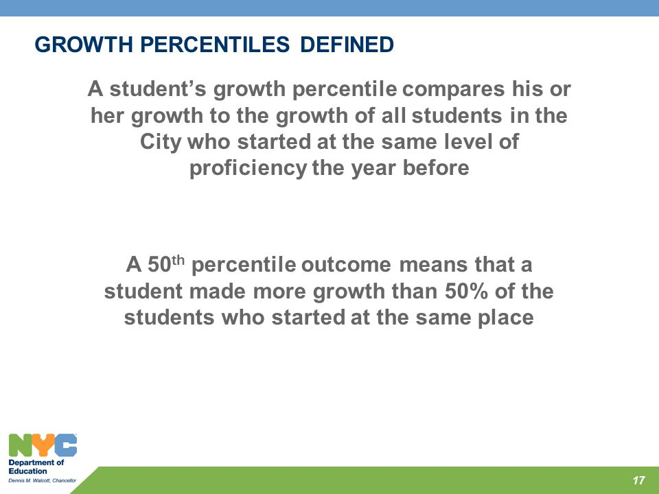 GROWTH PERCENTILES DEFINED A student's growth percentile compares his or her growth to the growth of all students in the City who started at the same
