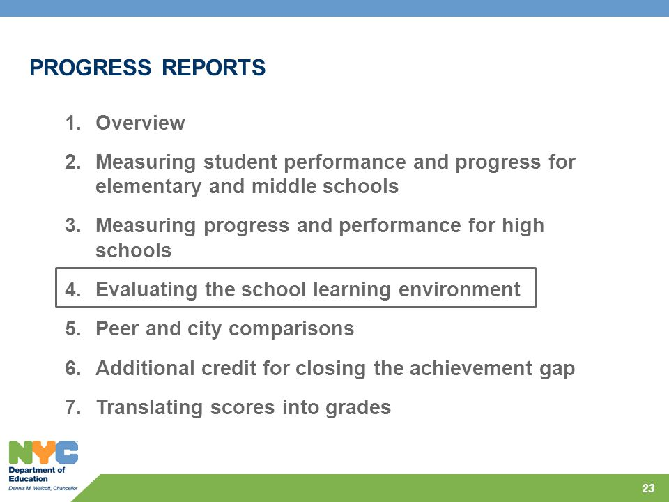 23 PROGRESS REPORTS 1.Overview 2.Measuring student performance and progress for elementary and middle schools 3.Measuring progress and performance for