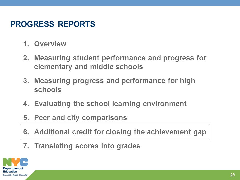 28 PROGRESS REPORTS 1.Overview 2.Measuring student performance and progress for elementary and middle schools 3.Measuring progress and performance for
