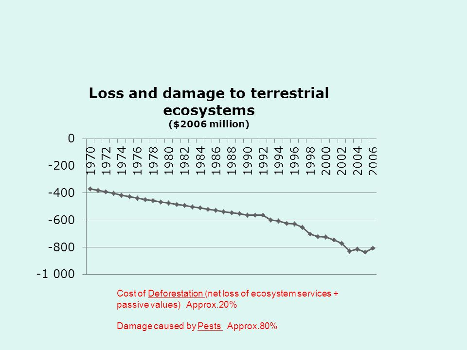 Cost of Deforestation (net loss of ecosystem services + passive values) Approx.20% Damage caused by Pests Approx.80%