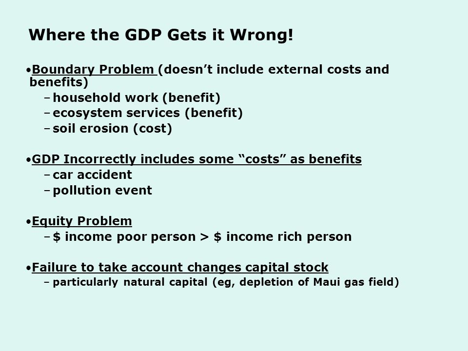 Where the GDP Gets it Wrong.