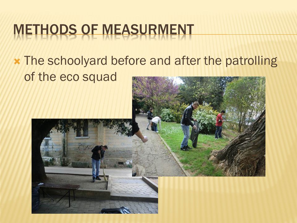  The schoolyard before and after the patrolling of the eco squad