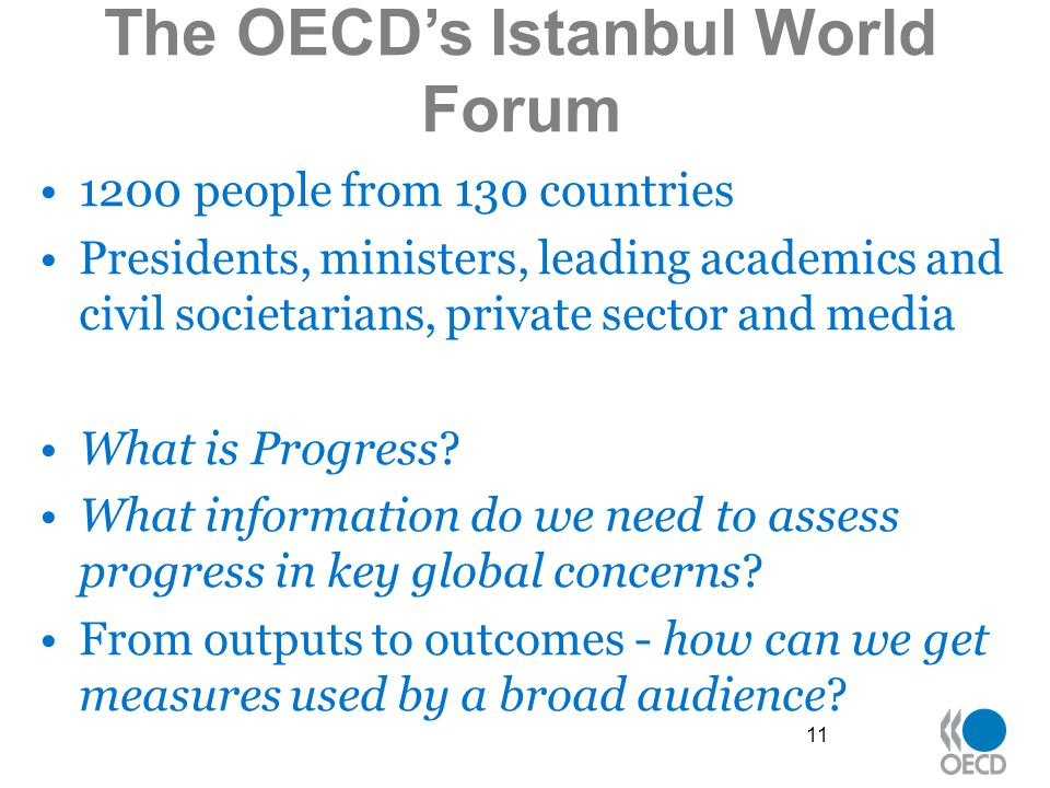 The OECD's Istanbul World Forum 1200 people from 130 countries Presidents, ministers, leading academics and civil societarians, private sector and media What is Progress.