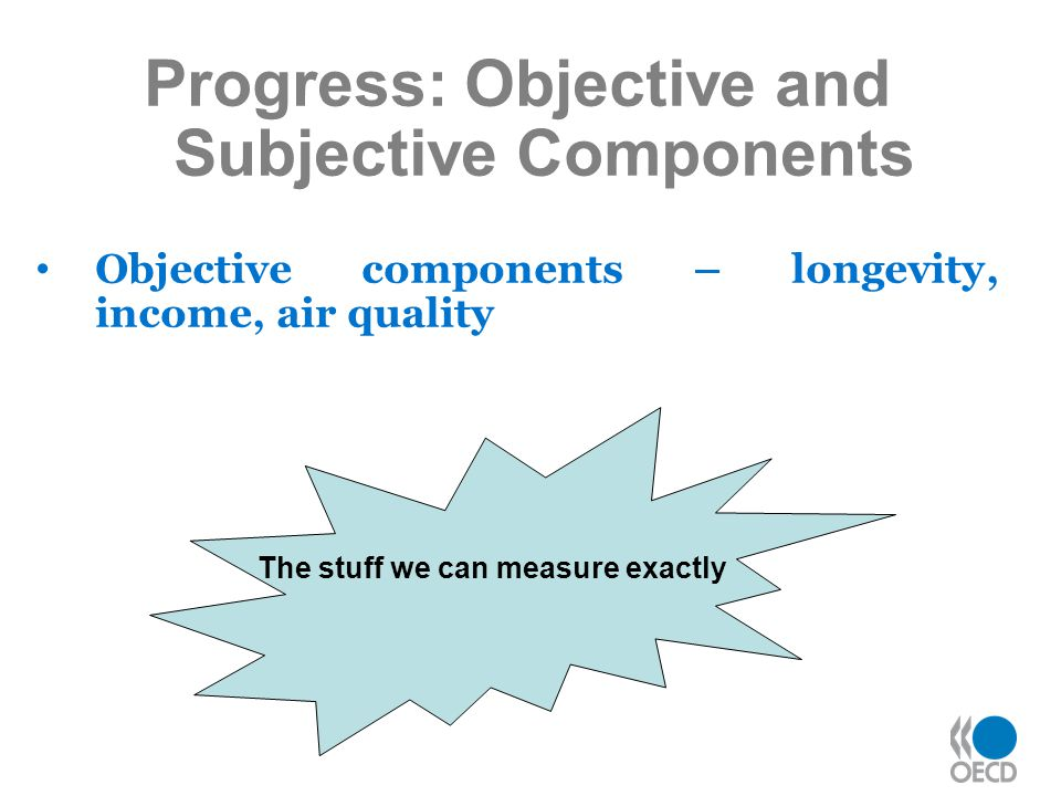 Progress: Objective and Subjective Components Objective components – longevity, income, air quality The stuff we can measure exactly