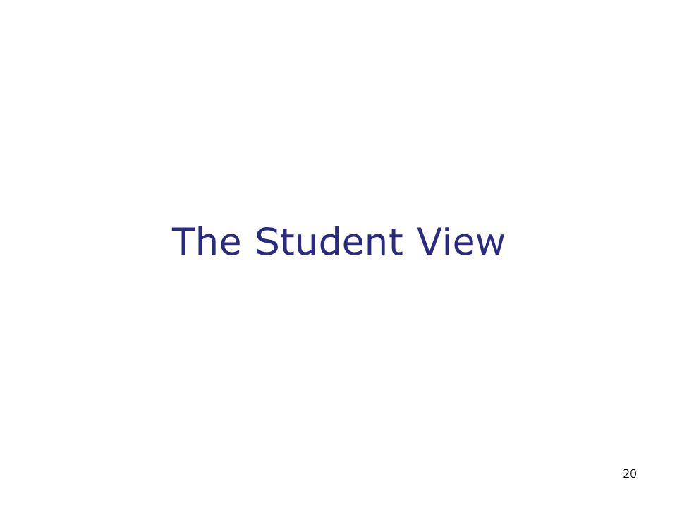 20 The Student View