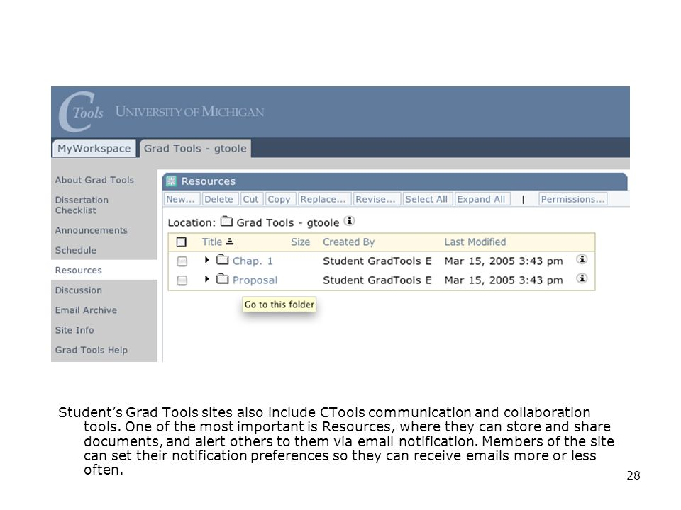 28 Student's Grad Tools sites also include CTools communication and collaboration tools.