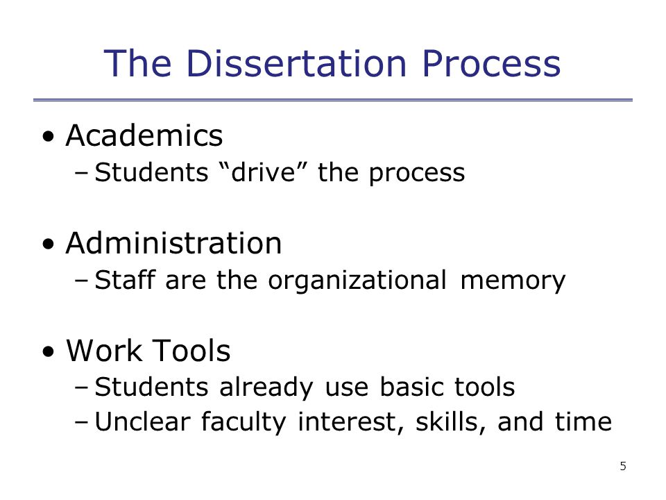 5 The Dissertation Process Academics –Students drive the process Administration –Staff are the organizational memory Work Tools –Students already use basic tools –Unclear faculty interest, skills, and time