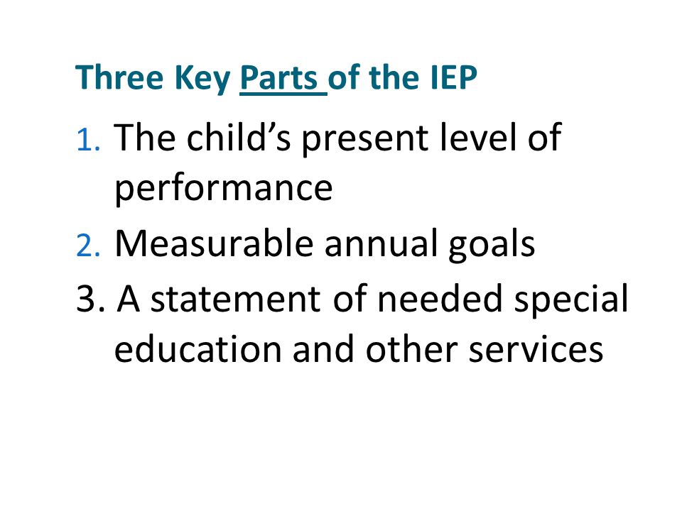 Writing Goals and Benchmarks Keeping Perspective: Students' NEEDS must drive the IEP and the program Goals and benchmarks must address the SKILLS necessary to access the general curriculum