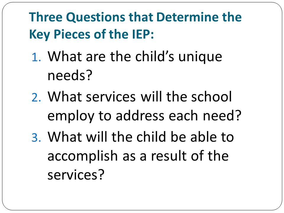 Questions and Answers Q: Should there be a relationship between the goals and objectives in the IEP and those that are in instructional plans of special education personnel.