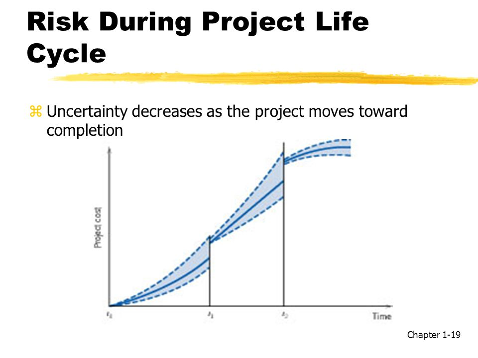 Risk During Project Life Cycle zUncertainty decreases as the project moves toward completion Chapter 1-19