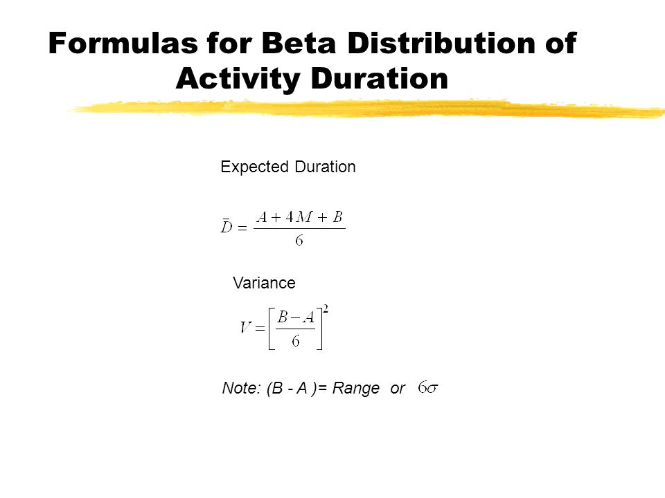 Formulas for Beta Distribution of Activity Duration Expected Duration Variance Note: (B - A )= Range or