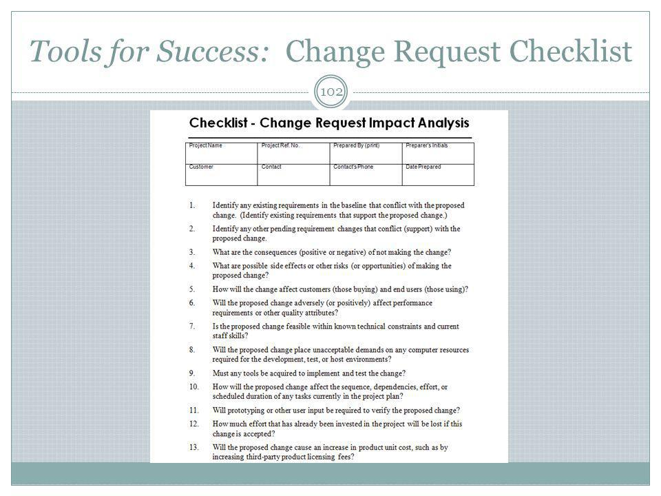 Tools for Success: Change Request Checklist 102