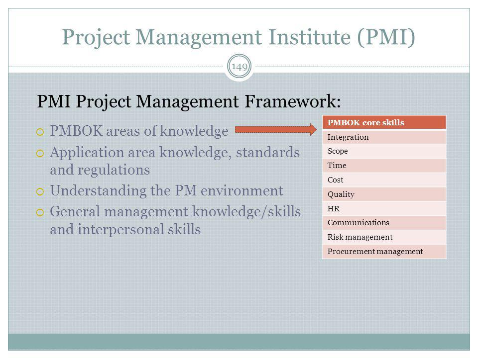 Project Management Institute (PMI)  PMBOK areas of knowledge  Application area knowledge, standards and regulations  Understanding the PM environment  General management knowledge/skills and interpersonal skills 149 PMBOK core skills Integration Scope Time Cost Quality HR Communications Risk management Procurement management PMI Project Management Framework: