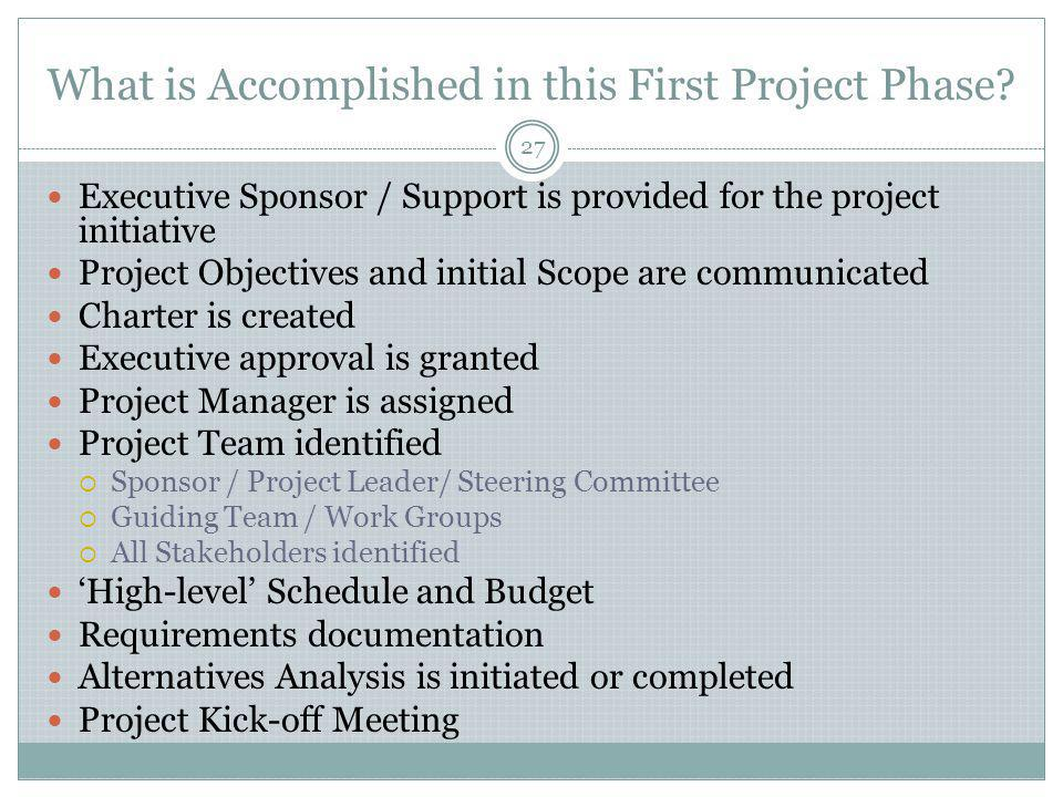 What is Accomplished in this First Project Phase.