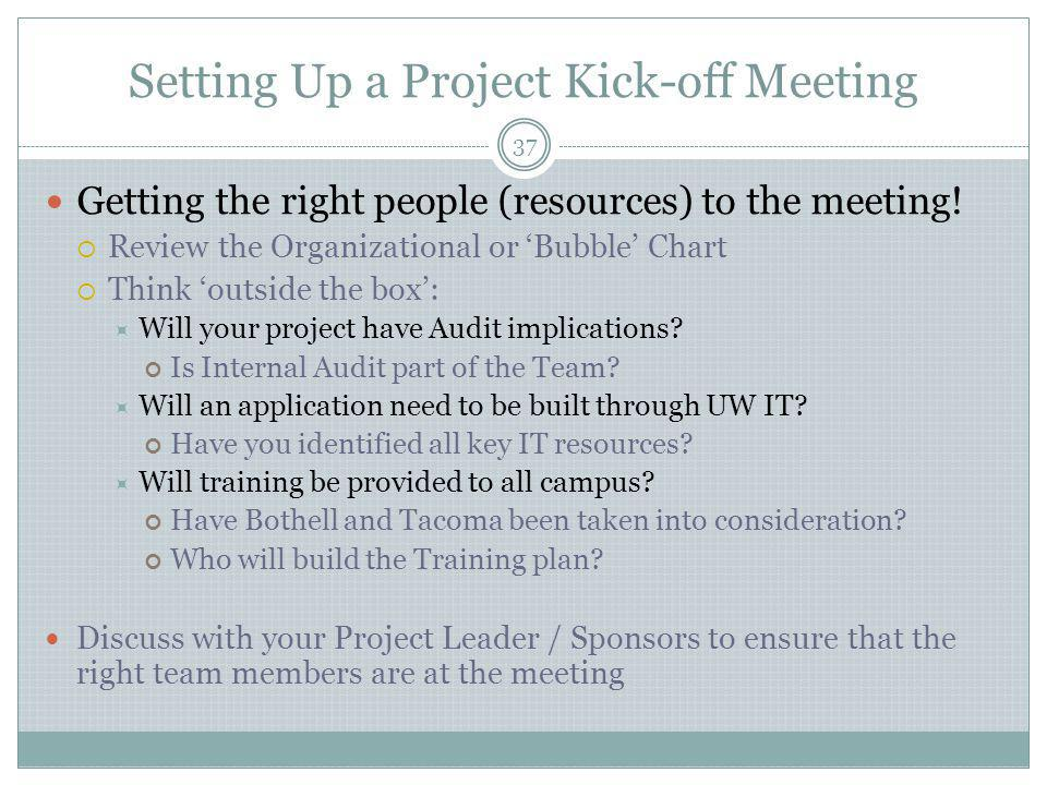 Setting Up a Project Kick-off Meeting 37 Getting the right people (resources) to the meeting.