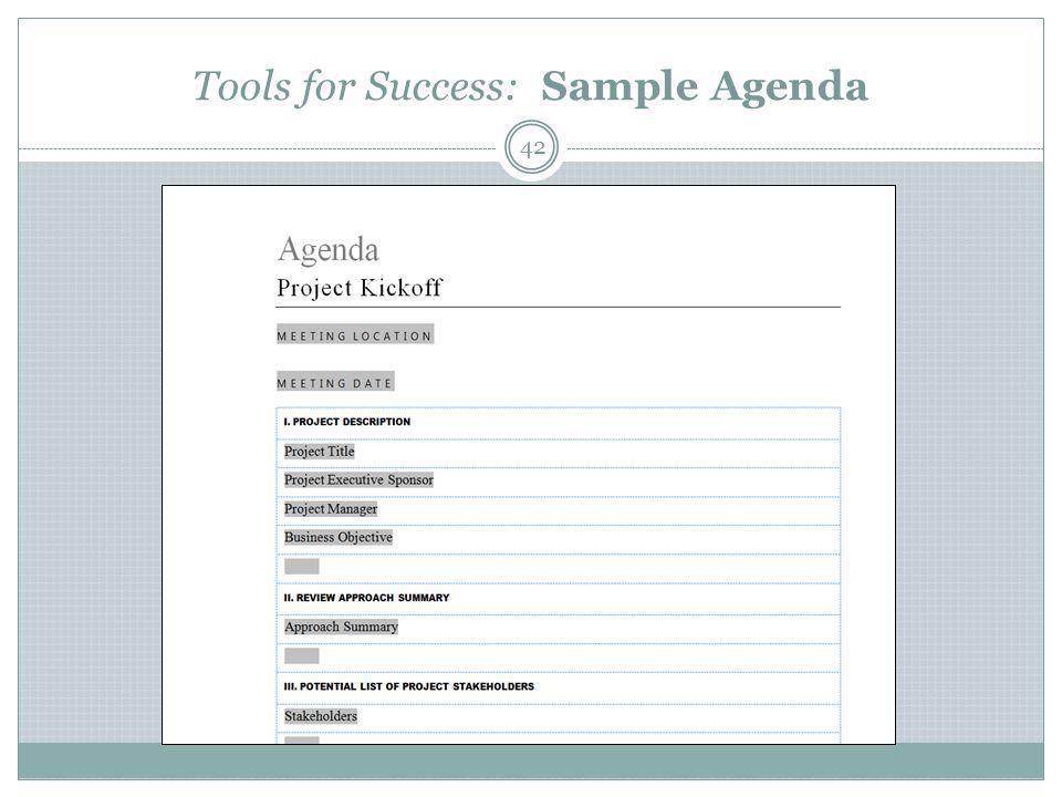 Tools for Success: Sample Agenda 42