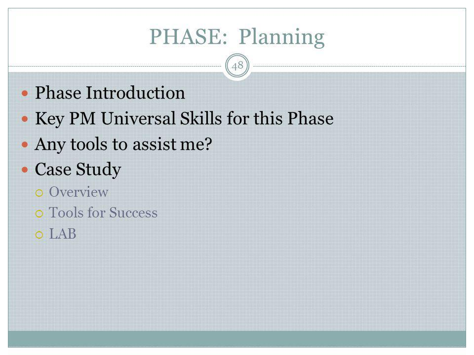 PHASE: Planning Phase Introduction Key PM Universal Skills for this Phase Any tools to assist me.