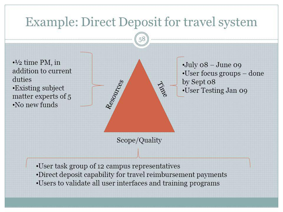 Example: Direct Deposit for travel system Time Resources Scope/Quality July 08 – June 09 User focus groups – done by Sept 08 User Testing Jan 09 User task group of 12 campus representatives Direct deposit capability for travel reimbursement payments Users to validate all user interfaces and training programs ½ time PM, in addition to current duties Existing subject matter experts of 5 No new funds 58