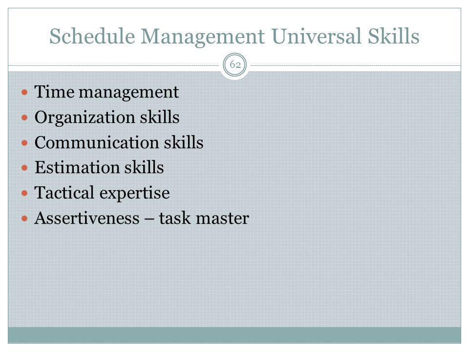 Schedule Management Universal Skills Time management Organization skills Communication skills Estimation skills Tactical expertise Assertiveness – task master 62