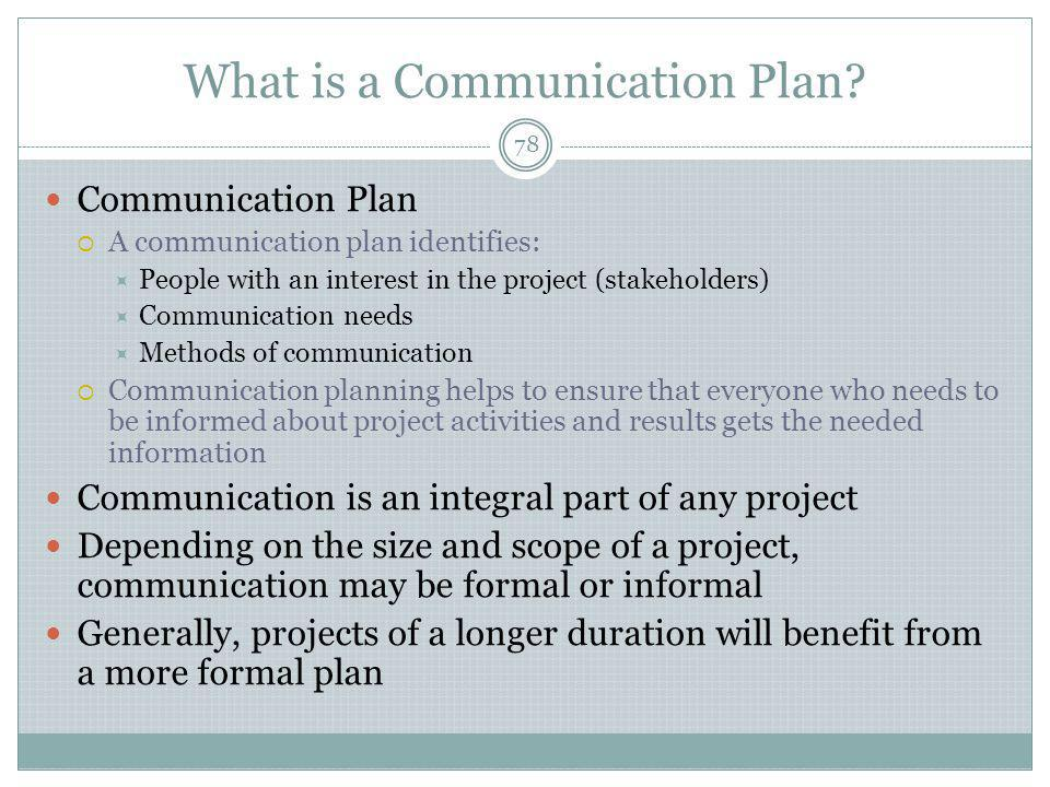 What is a Communication Plan.
