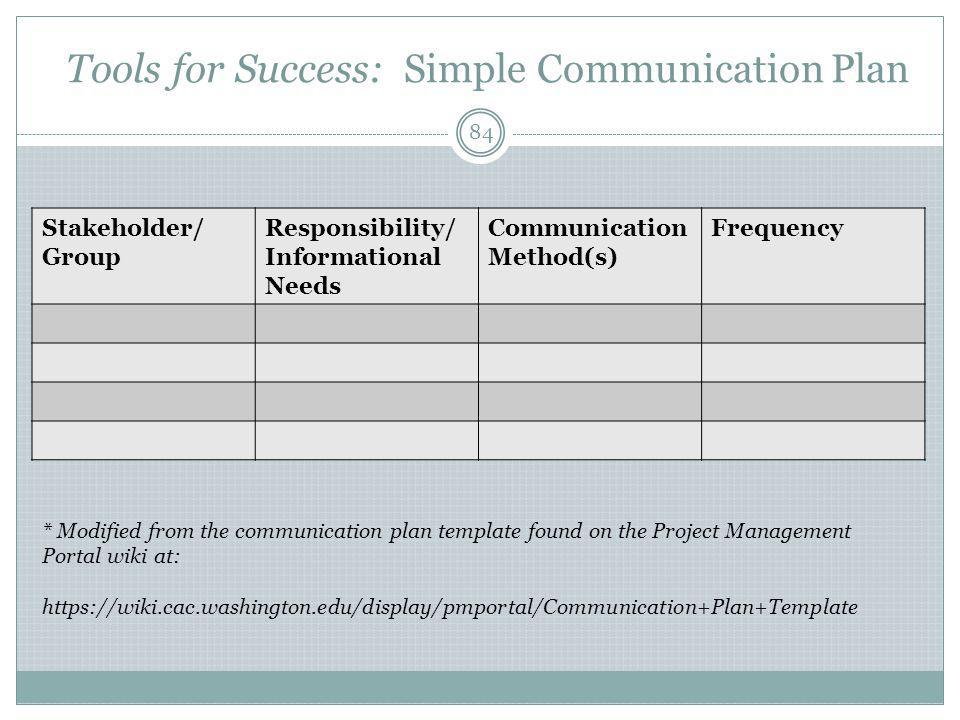 Tools for Success: Simple Communication Plan Stakeholder/ Group Responsibility/ Informational Needs Communication Method(s) Frequency * Modified from the communication plan template found on the Project Management Portal wiki at: https://wiki.cac.washington.edu/display/pmportal/Communication+Plan+Template 84