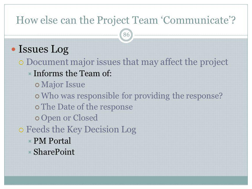 How else can the Project Team 'Communicate'.