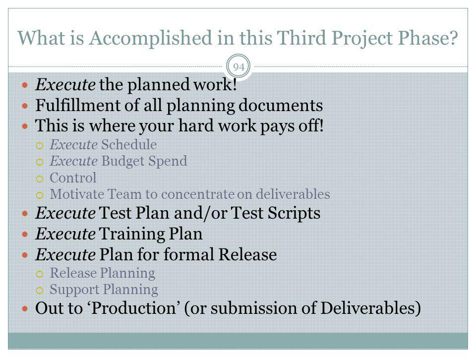 What is Accomplished in this Third Project Phase.94 Execute the planned work.