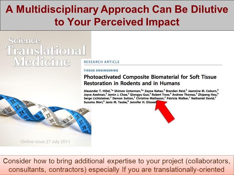 A Multidisciplinary Approach Can Be Dilutive to Your Perceived Impact Consider how to bring additional expertise to your project (collaborators, consultants, contractors) especially If you are translationally-oriented