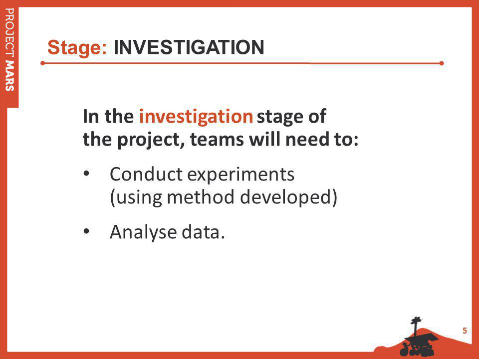5 Stage: INVESTIGATION In the investigation stage of the project, teams will need to: Conduct experiments (using method developed) Analyse data.