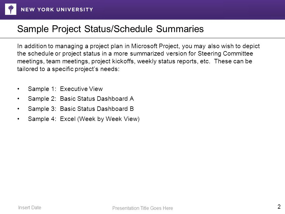 Insert Date Presentation Title Goes Here Sample Project Status/Schedule Summaries In addition to managing a project plan in Microsoft Project, you may also wish to depict the schedule or project status in a more summarized version for Steering Committee meetings, team meetings, project kickoffs, weekly status reports, etc.