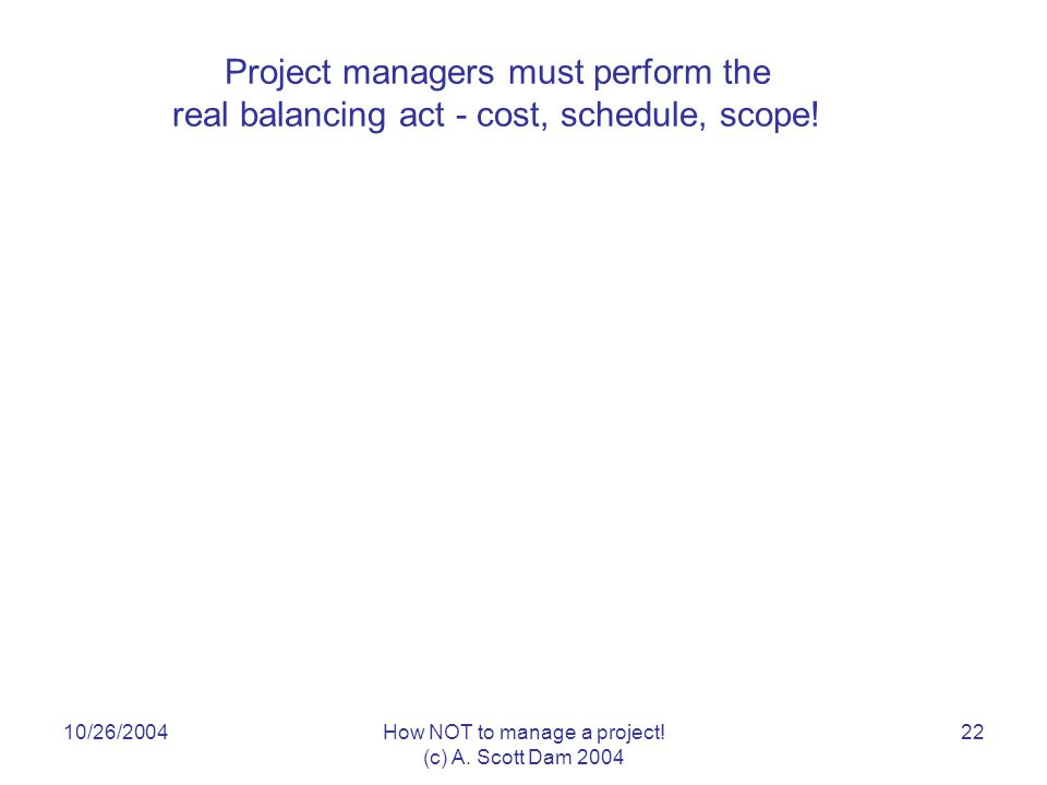 10/26/2004How NOT to manage a project. (c) A.