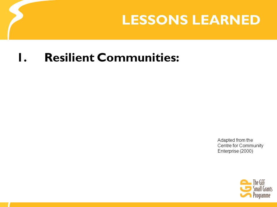 LESSONS LEARNED 1.Resilient Communities: Adapted from the Centre for Community Enterprise (2000)